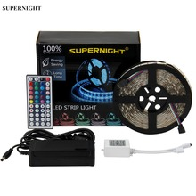 цена на 20 Colors LED Strip Light Kit 5050 SMD 5M 300LEDs DC 12V Waterproof Flexible RGB LED Lamp Band with 44 Keys IR Remote Controller