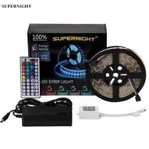 20 cores led strip light kit dc 12v 5m smd 5050 300leds à prova dwaterproof água flexível rgb led lâmpada banda com 44 teclas ir controle remoto
