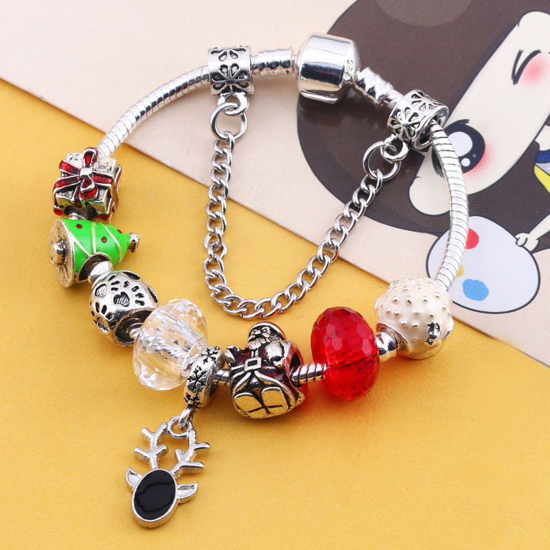 (without Box) SPC European Style Crown Charm Bracelet for Women Antique Silver Murano Glass Beads Bracelets & Bangles DIY