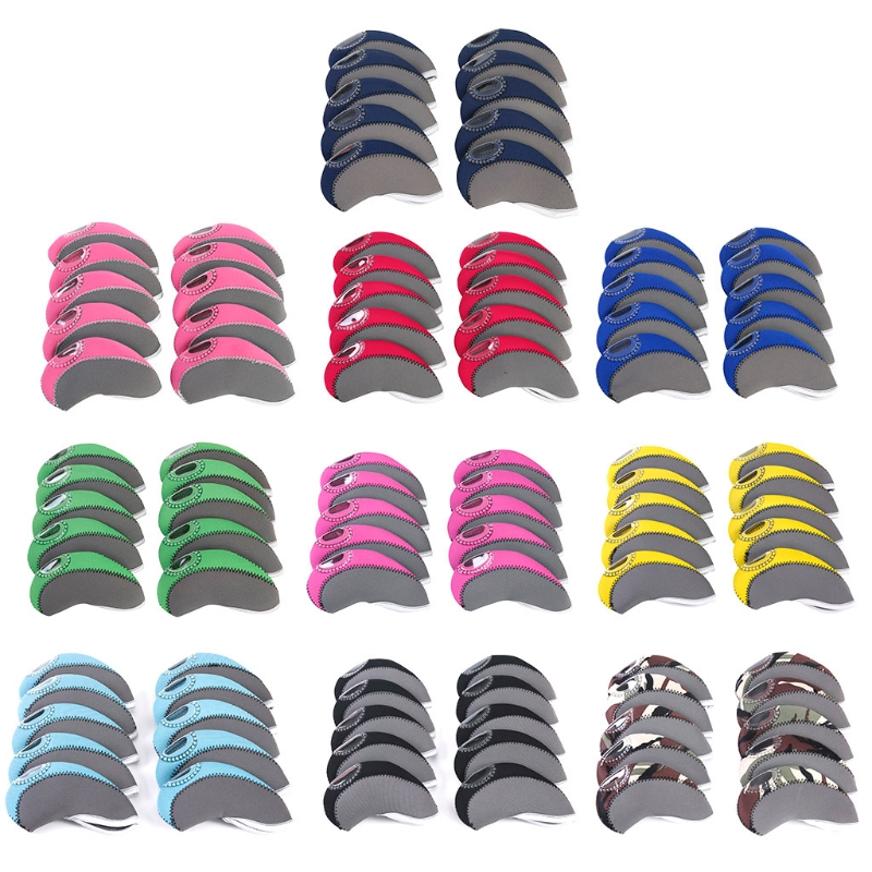 10Pcs/Set Golf Head Covers Club Iron Putter Cover Protector Neoprene Headcovers