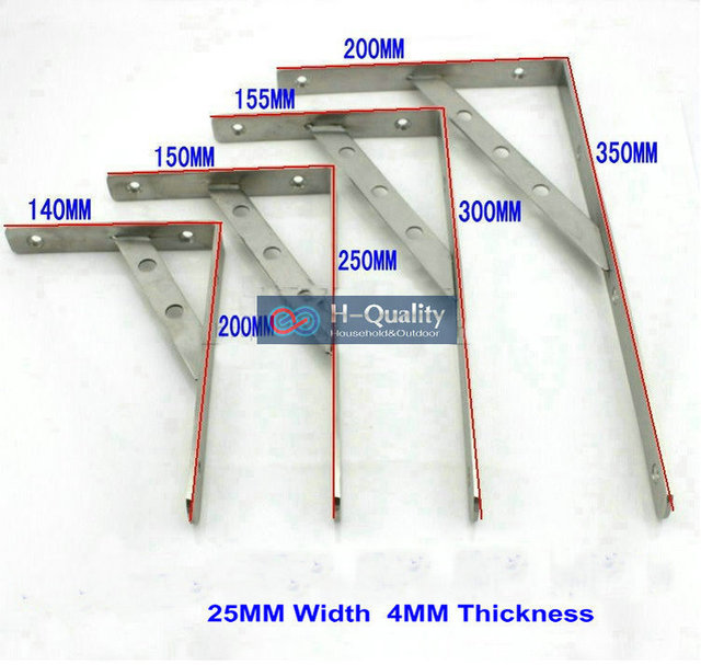 155X300MM AISI304 Stainless Steel Shelf Holder Bracket, Triangular Commodity Shelf, Wall Shelf, Shelf Supporting Frame