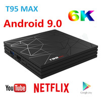 Android 9.0 TV Box T95 MAX 4GB RAM 32GB/64GB 1080P H.265 4K Google Player Store Netflix Youtube TV BOX H6 pk S905X2 X96 H96 MAX