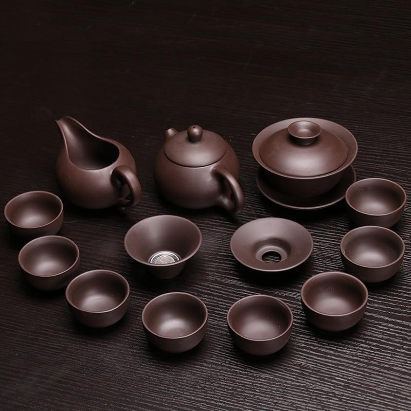 Chinese Dragon Kung Fu Tea Sets,Genuine Yixing Purple Clay Teapot,Zisha Teacups,Pure Manual,Tea Service High Quality Tea Set