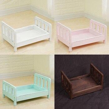Berceau panier détachable lit en bois   Accessoires de lit en bois pour prise de Photo de bébé infantile, accessoires de Studio de photographie d'arrière-plan canapé cadeau poser nouveau-né