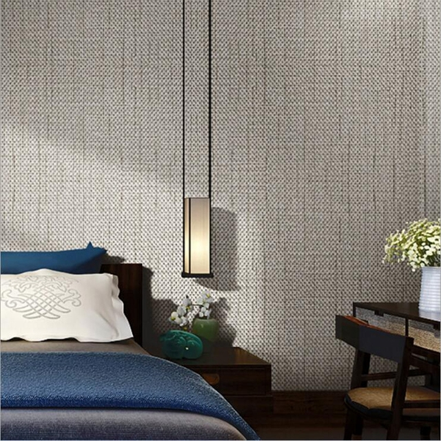 Unique Modern Linen Wall paper Designs Beige Brown Non woven Flax 3D  RF56