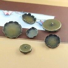 12 мм, 15 мм, 20 мм, 25 мм Круглая Корона Медь; Античная бронза задняя Кнопка камея из кабошона