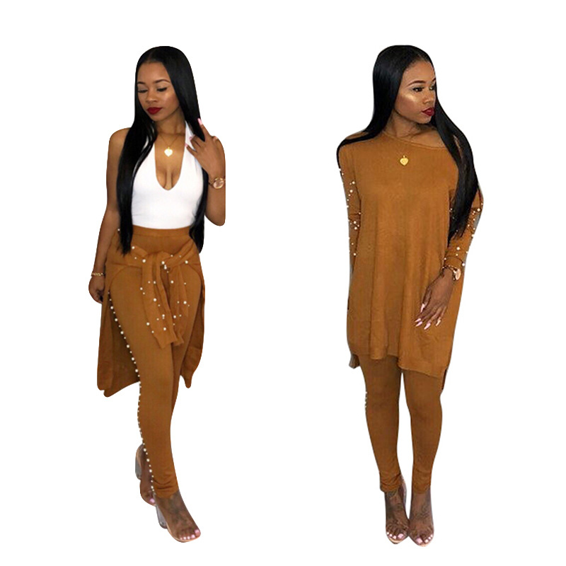 Long Sleeve Pearl Beading Women's Tracksuits Elastic Loose Long Sweater+ Long Pants 2 Pcs Women Set Suit 2018 New