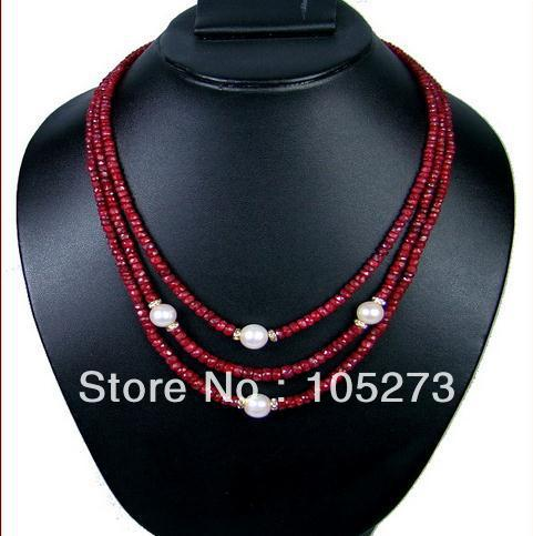 Gorgeous Gem Stone Jewelry Natural Red White Genuine Freshwater Pear Necklace 6-9mm 18-20'' Hot Sale New Free Shipping gorgeous faux gem triangle necklace for women