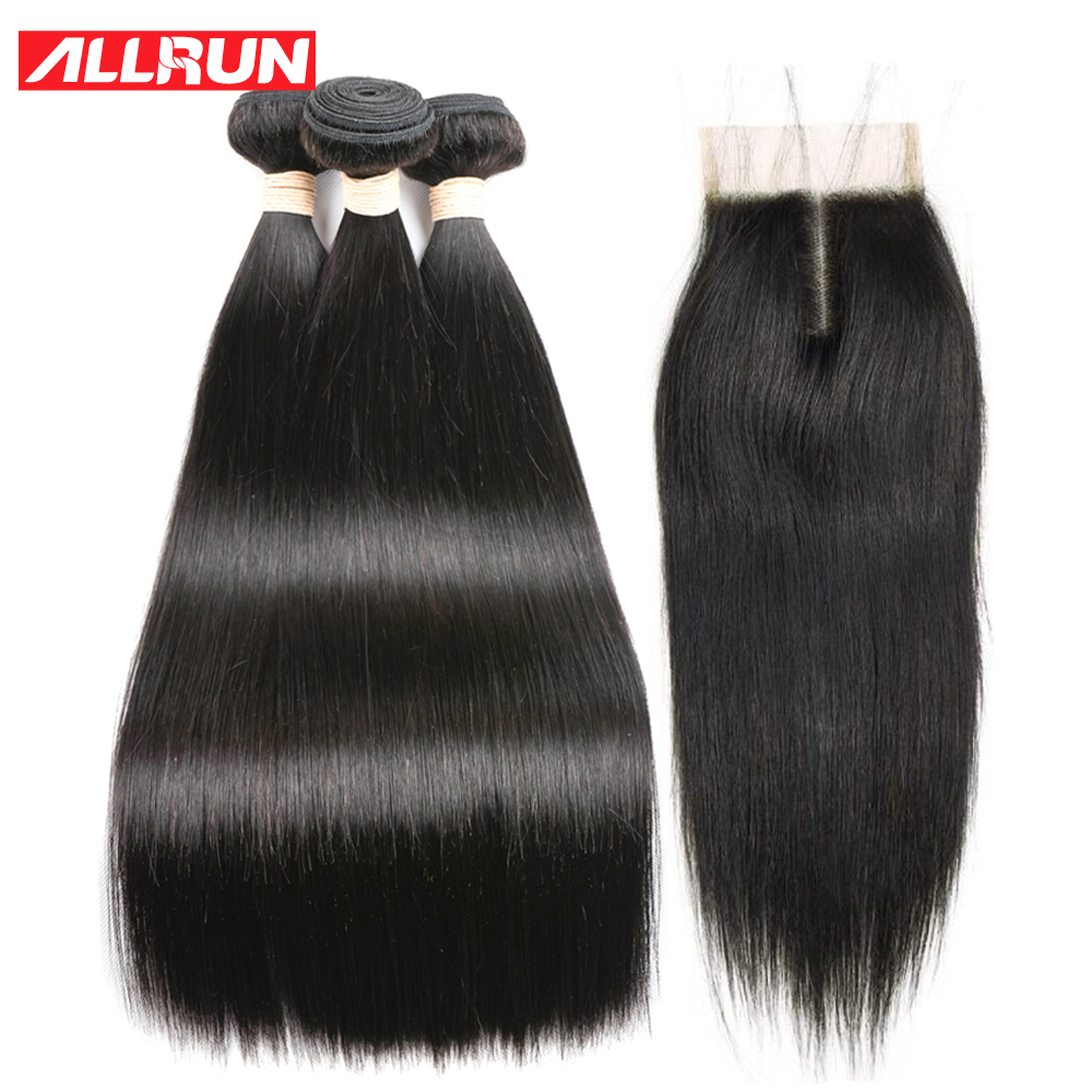 Hair Extensions & Wigs Human Hair Weaves Allrun Brazilian Straight Hair Natural Color 360 Lace Frontal Human Hair Closure 100% Non Remy Hair Extensions Grade Products According To Quality
