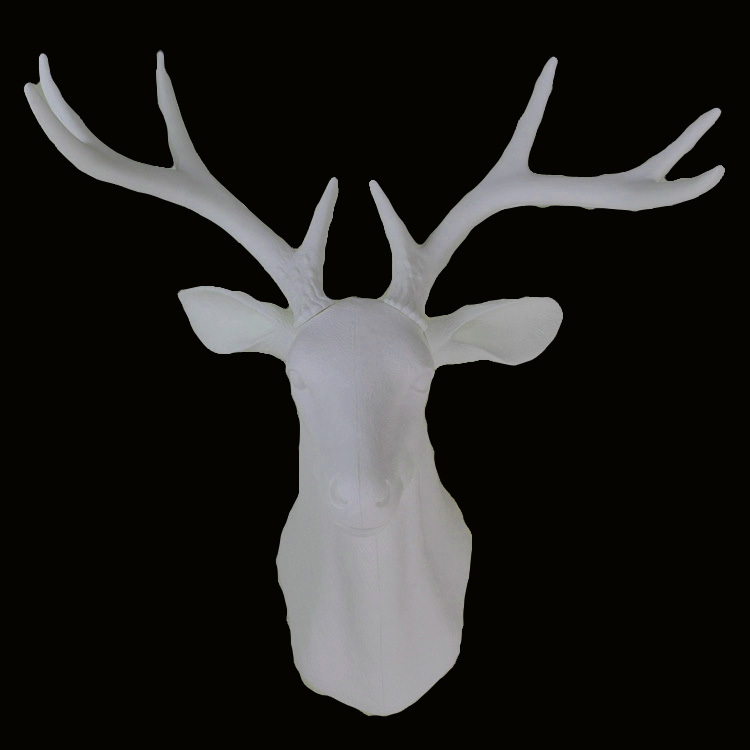Wall Mounted Hanging White Whitetail Buck Bust Deer Head Trophy Hunt Sculpture Faux Taxidermy As Modern
