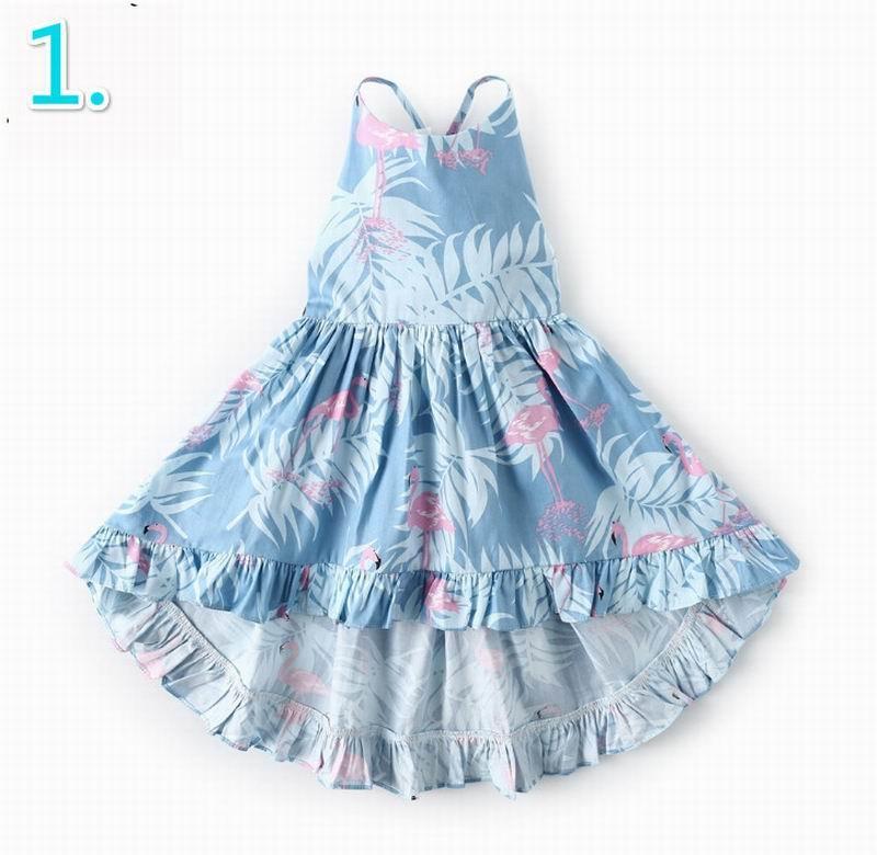 Wholesale 2019 Easter Girl Floral Dress Backless Sleeveless High Low Bohemian Beach Cotton Dress Children Clothing