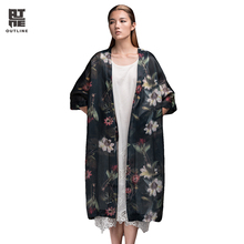 Outline Women Flowers Print Blouses Shirts Vintage Oversized V-neck Loose Long Tops Casual Lady Summer Kimono Cardigans L152Y030