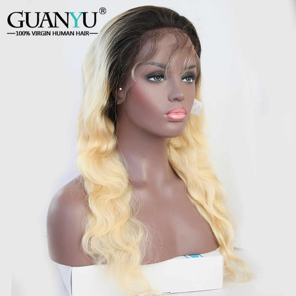 Guanyuhair предварительно сорвал Ombre #1B/613 темный корень блондинка синтетические волосы на кружеве Искусственные парики 130% плотность средства