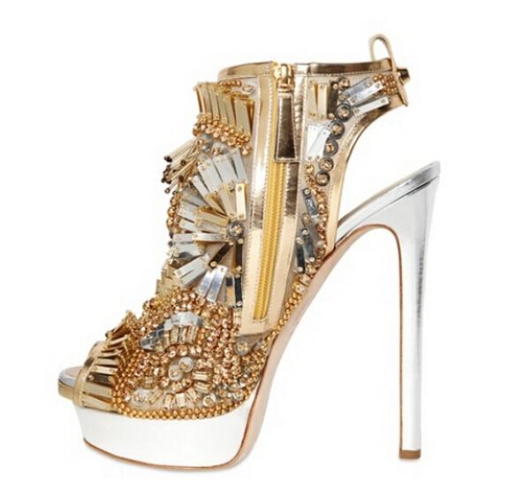 9082ea9568eb8 Swarovski crystal bead women sandals peep toe high heel platform sandals  rhinestone wedding party stilettos shoes woman