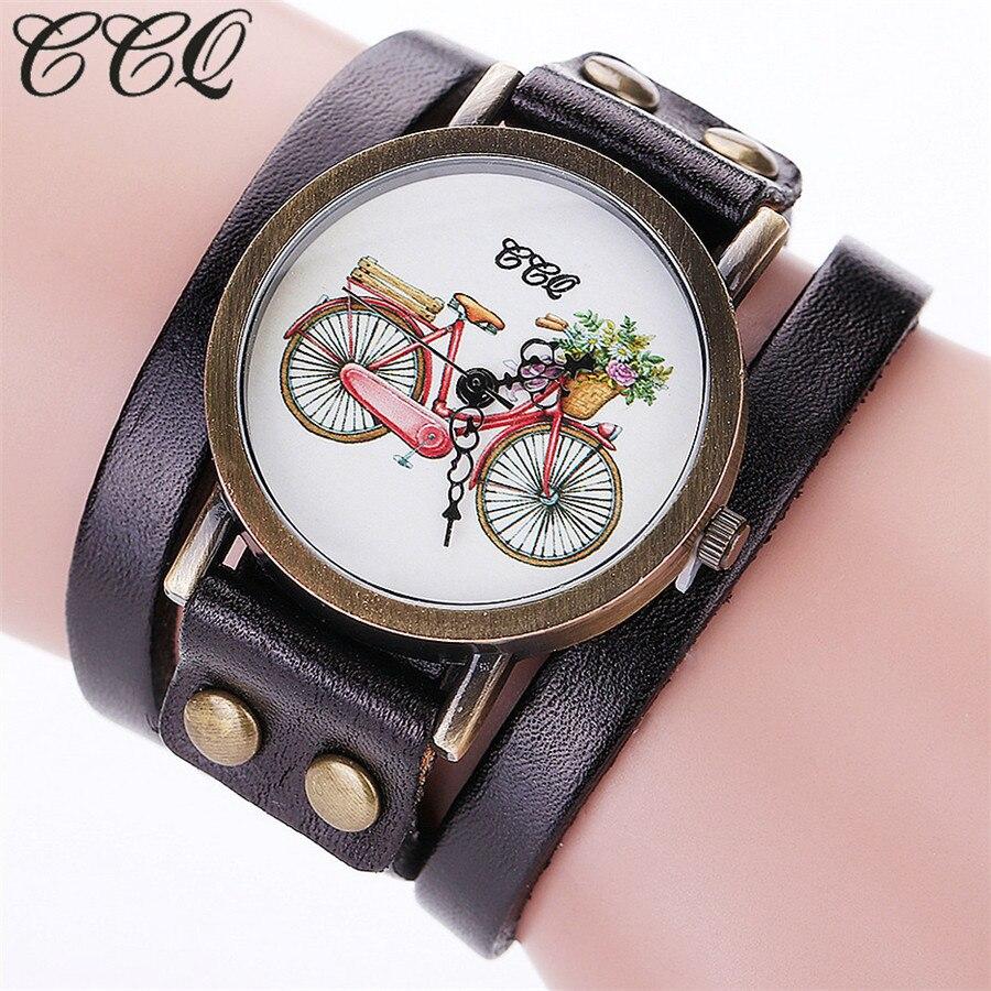 100% QualitäT Ccq Marke Mode Vintage Leder Bracelcet Armbanduhr Casual Fahrrad Muster Frauen Quarzuhr Relogio Feminino C94