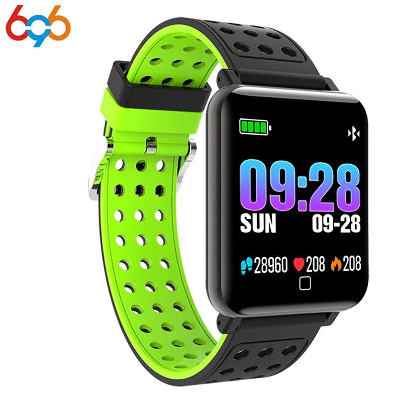 Reloj inteligente de presión arterial 2018 696 para hombre, reloj deportivo de ritmo cardíaco, medidor de pulso, pulsera de natación, reloj Bluetooth impermeable para mujer