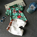 2017 Summer style Children clothing sets Baby boys girls t shirts+shorts+belt 3pcs pants sports suit kids clothes Free shipping