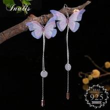 INALIS 925 Sterling Silver Multicolor Butterfly Dangle Drop Earrings for Women Oorbellen Fashion Jewelry Gift Pendientes