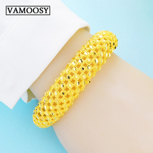 2019 Women Fine Hollow Geometric Slim Cuff Bangles Wide Exaggerated Bracelets For 24K Gold & Jewelry