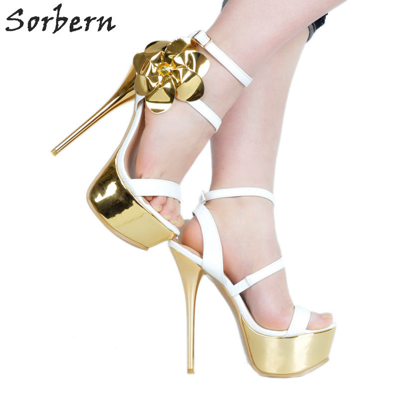 Sorbern Fashion Ladies High Heel Sandals Women Gold Flowers White Heels White Platform Sandals Size 11 Runway Shoes Women 2018 sorbern blue and white strips women sandals wedge high heels sandals shoes ladies comfortable platform heels chinese size 34 47