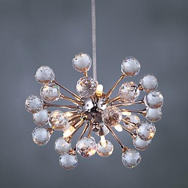 Світлодіодне освітлення Світлодіодні сучасні кришталеві підвісні світильники з 6 лампочками, що передають лампу Lustres e Pendentes, Luster De Cristal