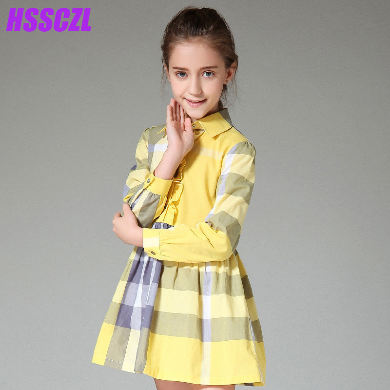 HSSCZL girls dresses 2017 spring summer new large children long sleeves girl kids dress cotton plaid dress 5-14age new arrival children s dress summer spring fall girl princess dress 100% cotton short sleeves girls dress 4 9y