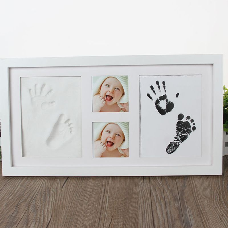 Creative DIY Kids Handprint Footprint Pictures Souvenirs Commemorate Growing Memory Baby Shower Gift Display Wood Photo Frame