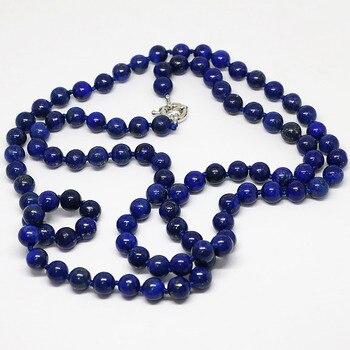 Nouvellement bleu lapis lazuli pierre ronde gyptienne perles naturelles 8 10 12mm l gant longue cha