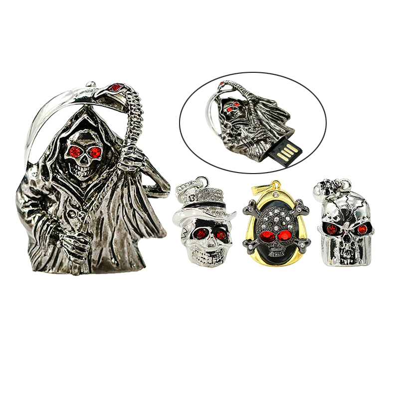 Metal Diamond Skeleton Head Skull Catena USB Flash Drive 64 gb USB2.0 Pen Drive 32 gb Memory USB Stick U Disco Pendrive 16 gb 8 gb 4 gb