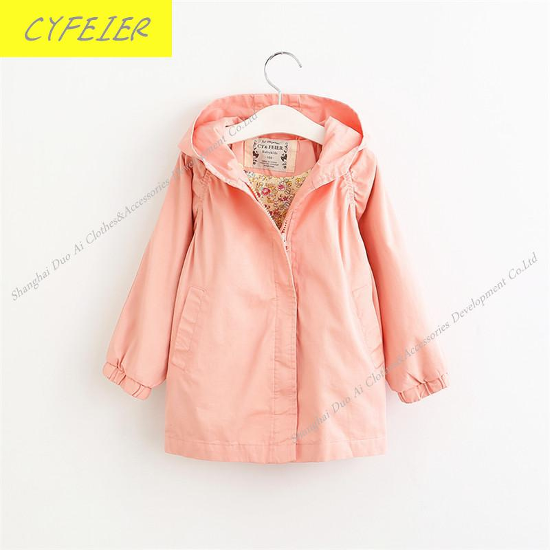 ФОТО New arrival Children's Clothes Spring/Fall Thin Girls's Windbreaker Girl's Outerwear 100% Cotton Hooded Jacket 4-9Y