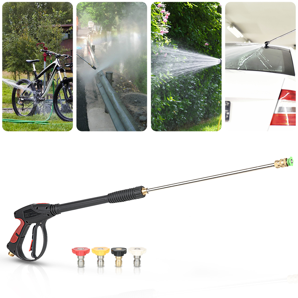Pressure Washer Gun 4000 PSI Spray Gun with 18 Extension Wand + 4 Quick Connect Nozzles 1 Soap Nozzle for Car Pressure Washers car washer water spray gun lance nozzle high pressure cleaner washers