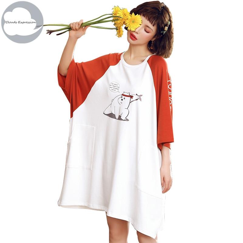 Summer New 100% Cotton Women's   Nightgown   Nightdress Batwing Sleeved Sleepwear Nightwear Big Loose   Nightgowns     Sleepshirts   Fashion