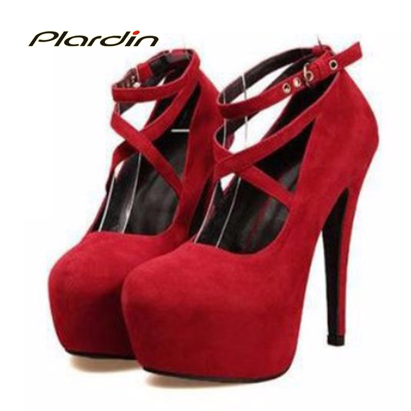 Plardin Shoes Woman Pumps Cross-tied Ankle Strap Wedding Party Shoes Platform Fashion Women Shoes High Heels Suede Ladies Shoes 2017 new high heeled shoes woman pumps wedding shoes platform fashion women shoes red high heels 11cm suede