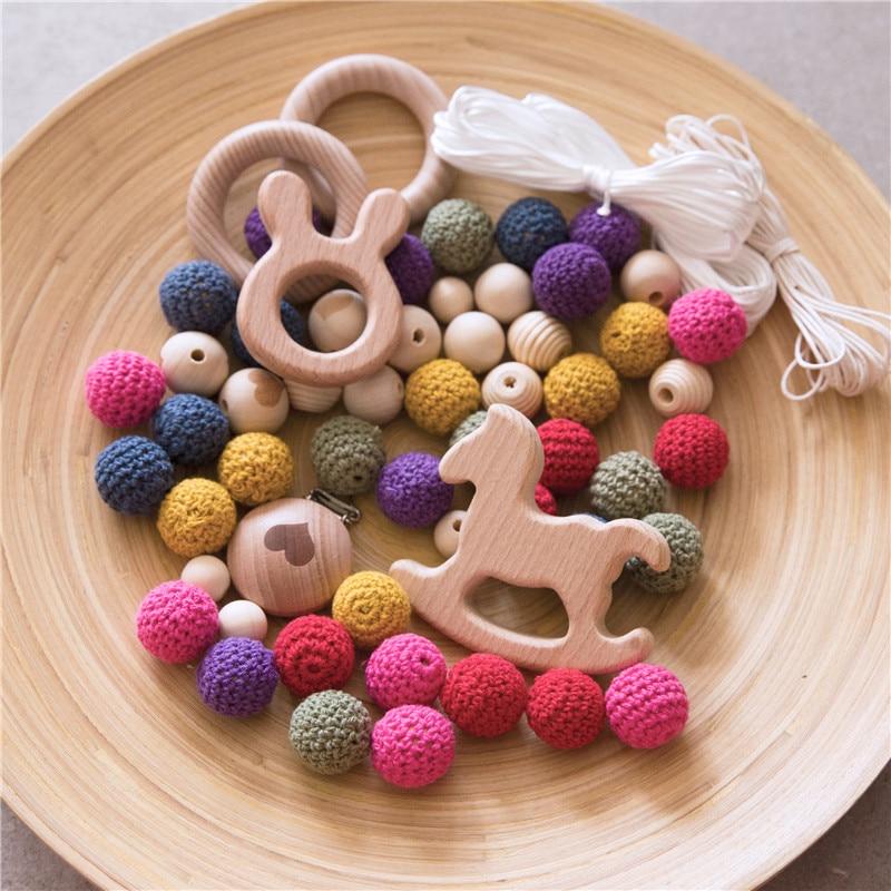 1 conjunto pacote combinacao de anel de madeira do bebe mordedor beads diy joias contas de