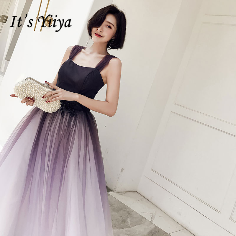 It's YiiYa Evening Dress Elegant Gradient Color Purple Lace Up Formal Gown Sexy Spaghetti Strap Long Party Dresses E003