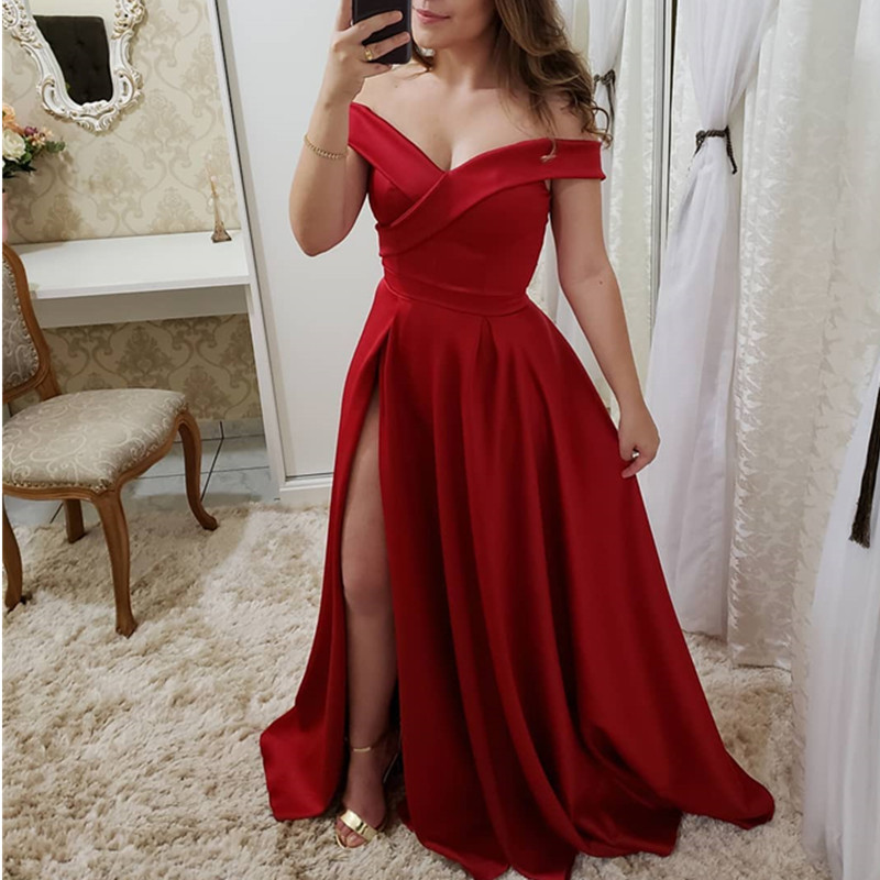 Vestidos De Gala Sexy Red V-Neck Side Slit   Prom     Dresses   Long Elegant Off the Shoulder A-Line Formal Party   Dress