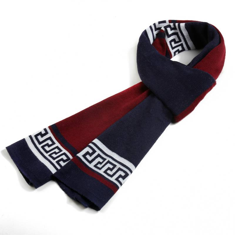 Winter Cashmere Scarf Men Business Casual Scarfs White Black font b Tartan b font Patchwork Echarpe