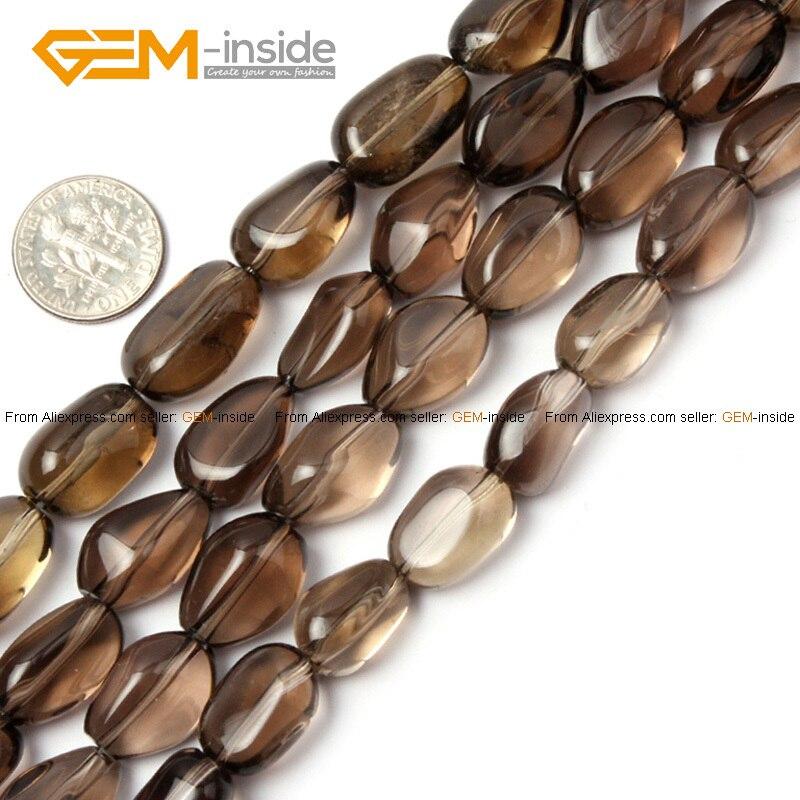 35b1eb307590 Gema-Dentro 10mm natural freeform patata Smoky Cuentas para joyería hacer  collar de pulsera pendiente 15 pulgadas DIY cuentas