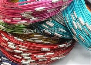 """Image 3 - Novo 100 pçs misturados multi cor de aço inoxidável fio cabo colares cadeias jóias 18 """"longth jóias diy"""