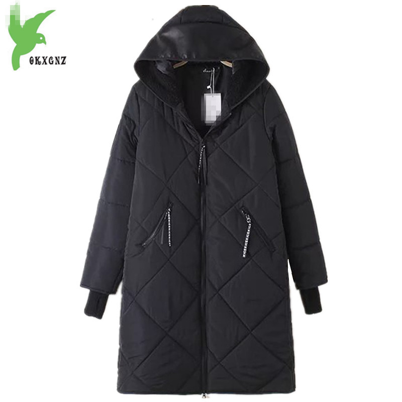 Plus Size Winter Women Down cotton Jackets New Fashion Solid Color Hooded Thick Warm Casual Costume Fat MM Long Coat OKXGNZ A854 new winter women cotton jackets solid color hooded long coat plus size fur collar thicker warm slim casual outerwear okxgnz a795