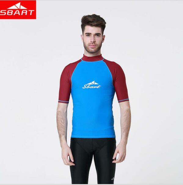 Lycra Rashguard Men Swim Surf Shirts Short Sleeve Rash
