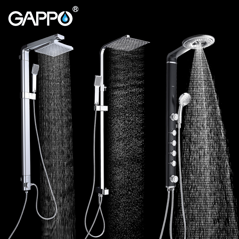GAPPO Shower Faucet bathroom shower faucet taps chrome bath shower mixer bathtub faucet waterfall rain shower head set