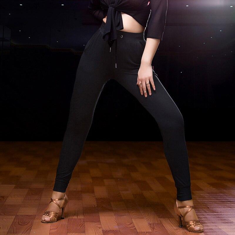 Good Quality Ladies Latin Dancing Pants Black Color Cotton Fringes Belt Pants Women Chacha/Samba/Tango Nice Trousers Wears 10444