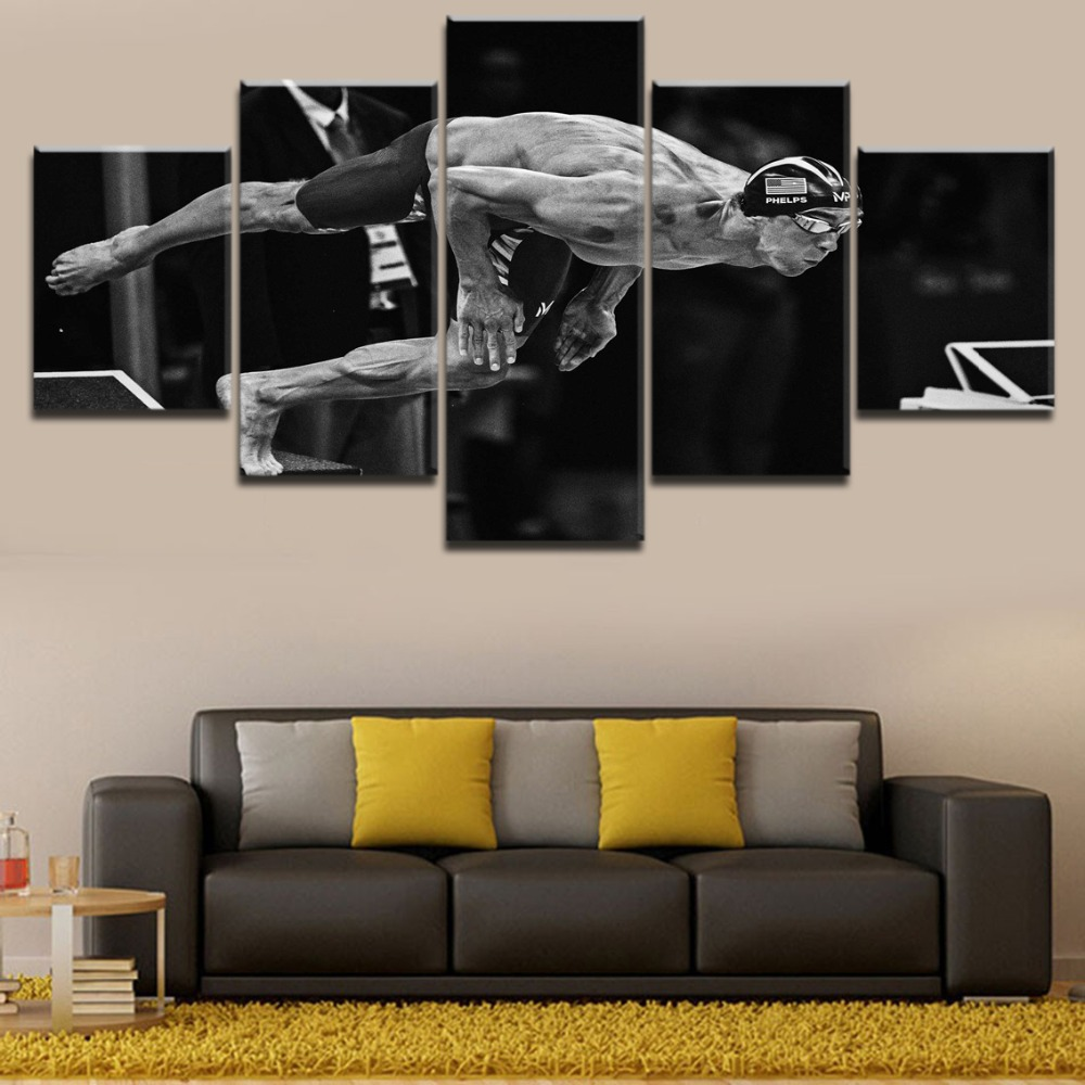 5 Pieces HD Print Painting Sports Swimming Modular Picture For Modern Decorative Bedroom Living Room Home Wall Art Decorative