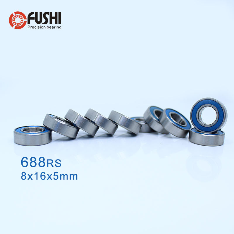 688-2RS Bearing ABEC-3 8*16*5 Mm ( 10 PCS ) Miniature 688RS Ball Bearings 618/8RS Z3V3 Orange/Blue Sealed Bearing 688 2RS