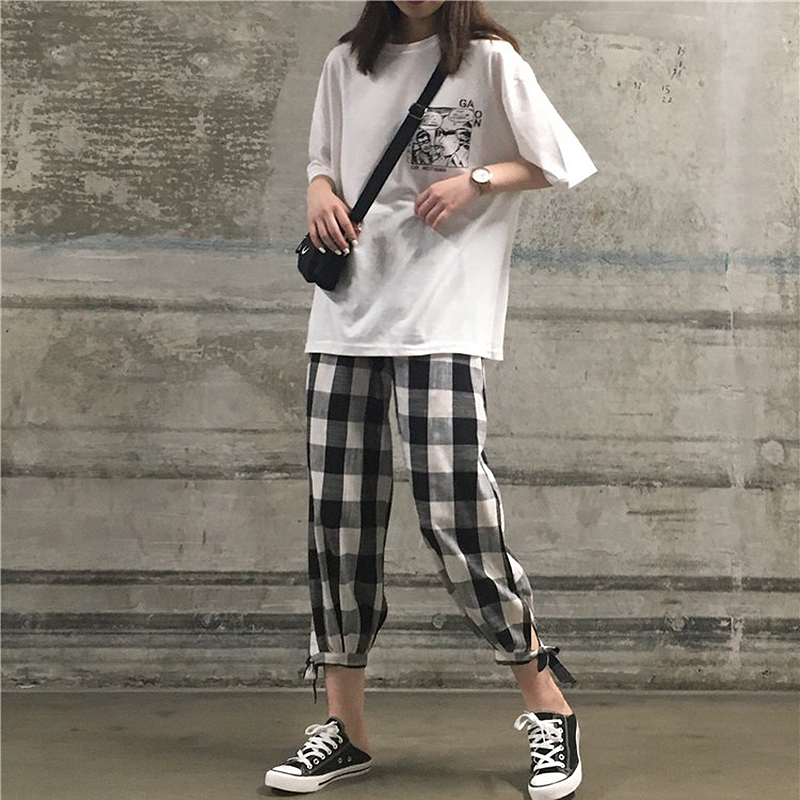 2019 Harajuku Streetwear Summer 2 piece set women White T Shirts top and Plaid pants two piece set outfits for women tracksuits