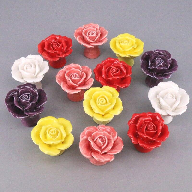 Kopen Goedkoop Keramische Rose Bloem Kast Knoppen Lade