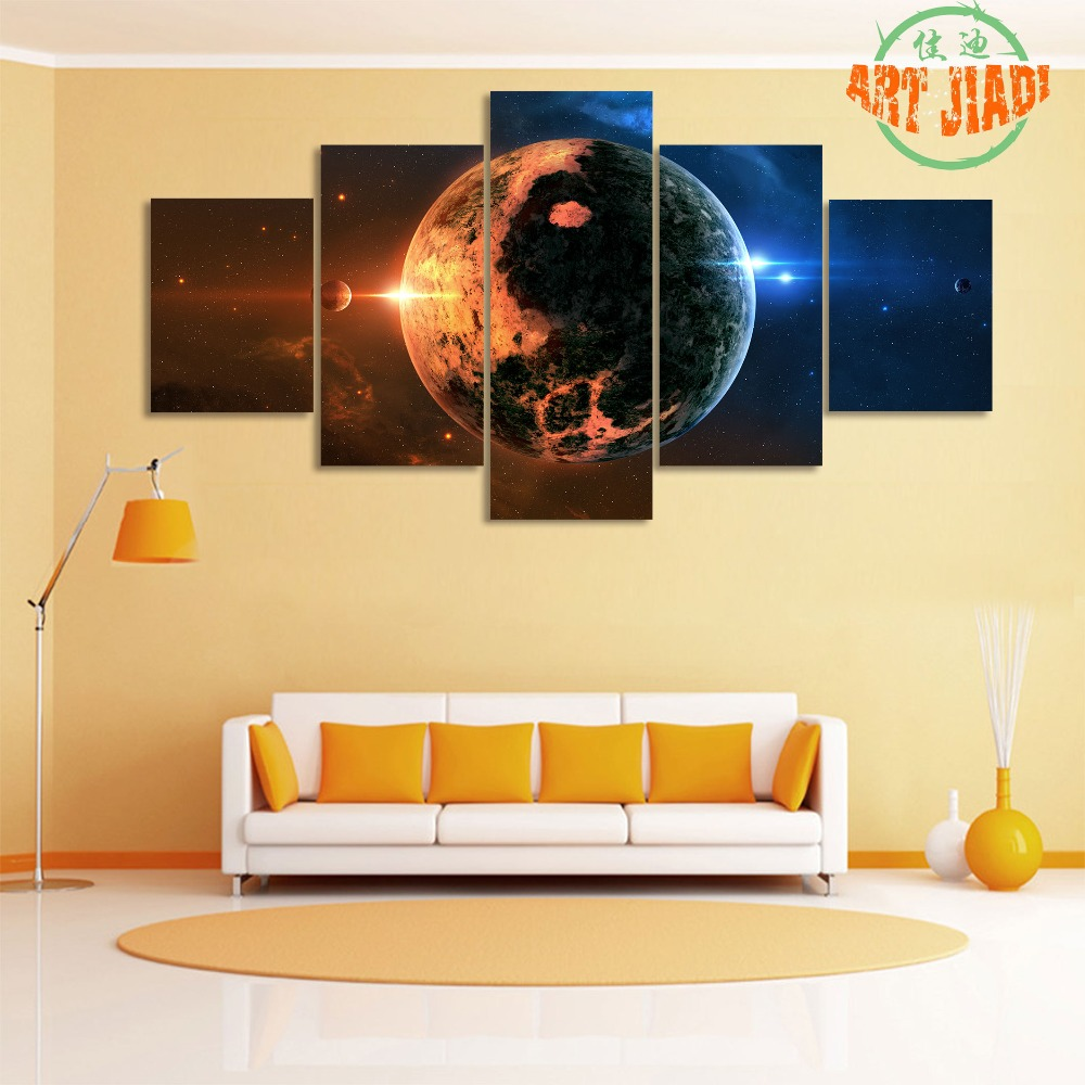 New 5 Pieces/set canvas art Space Wide Planet Canvas Painting HD ...