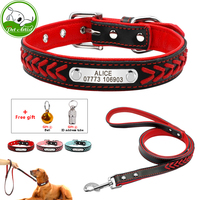 Custome Engraved PU Leather Braided Pet Collar And Leash Set Personalized Dog Cat ID Collar Durable