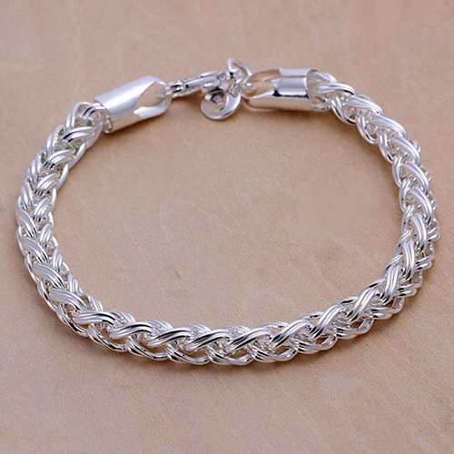 Fashion Solid Silver Plated Knotted Chain Bangle Bracelet Nice Gift For Boyfriend